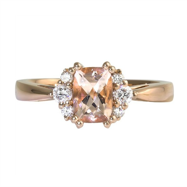 Cushion Morganite Rose Gold Ring by Rego