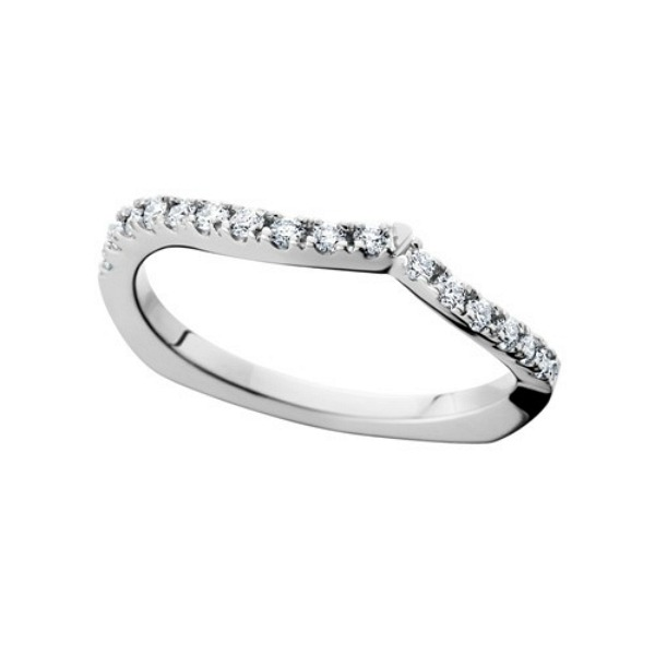 Curved Design 14 Karat White Gold Wedding Band - Made In MI by HL Manufacturing
