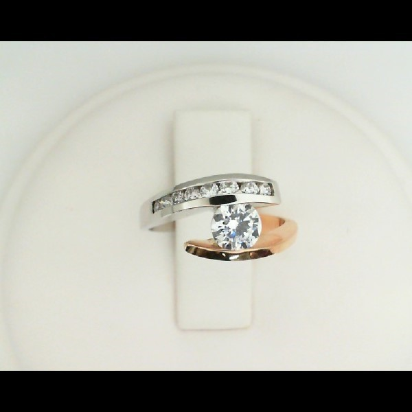 Rose And White Gold Diamond Bypass Ring by Leddel