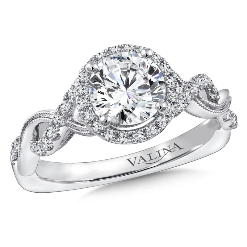 Diamond Engagement Ring Mounting in 14K White Gold by Valina