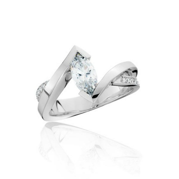 Marquis Channel Set Diamond Ring by HL Manufacturing