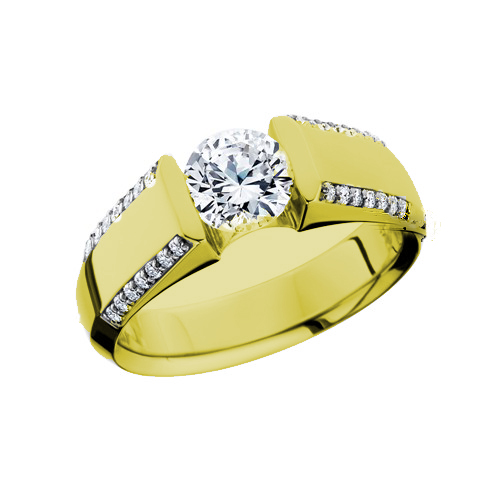 Low Profile Channel Set Ring In 14 Karat Yelllow Gold - Made In MI by HL Manufacturing