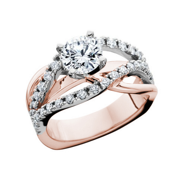 Romantic Design 14 Karat Rose And White Gold Ring - Made In MI by HL Manufacturing