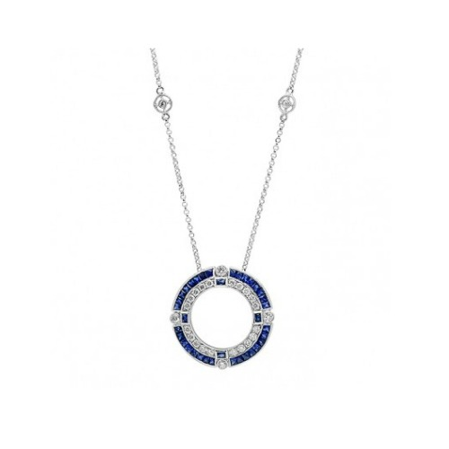 Breathtaking Vintage-Inspired White Gold Diamond and Sapphire Necklace by Beverley K