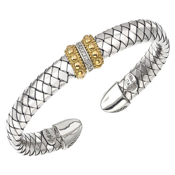 Alisa Sterling Silver And Diamond  Basket Weave Cuff by Alisa