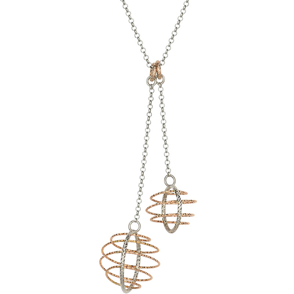 Sterling Silver and 18 Karat Rose Gold Plated Orbit Necklace by Frederic Duclos by Frederic Duclos