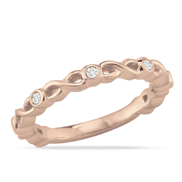 Satin Twist Diamond Rose Gold Ring by Stefano Bruni Designs