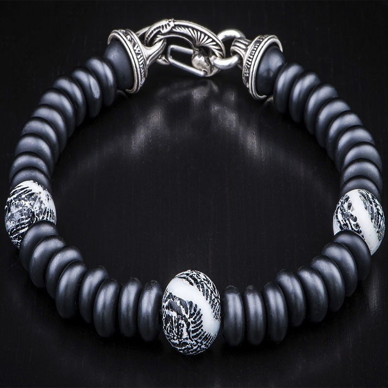 Night Dive Fossil Coral Black Onyx Bracelet by William Henry Studio