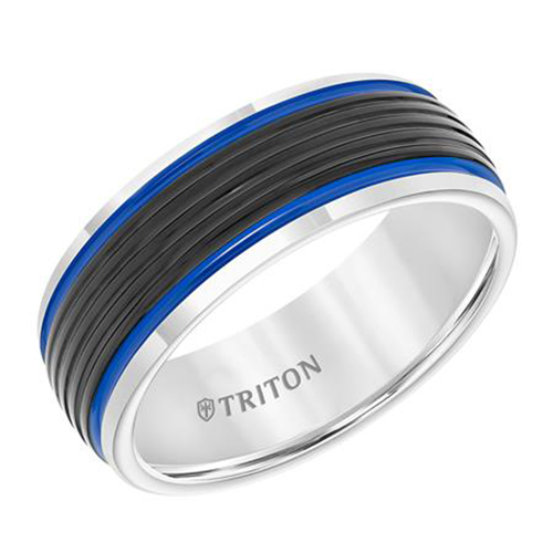 Tungsten Carbide Band With Electric Blue Stripes by Triton