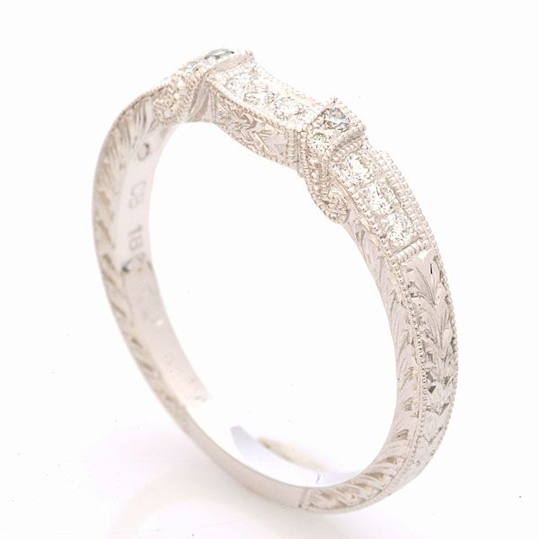 Milgrain and Engraved Diamond Band by Beverley K