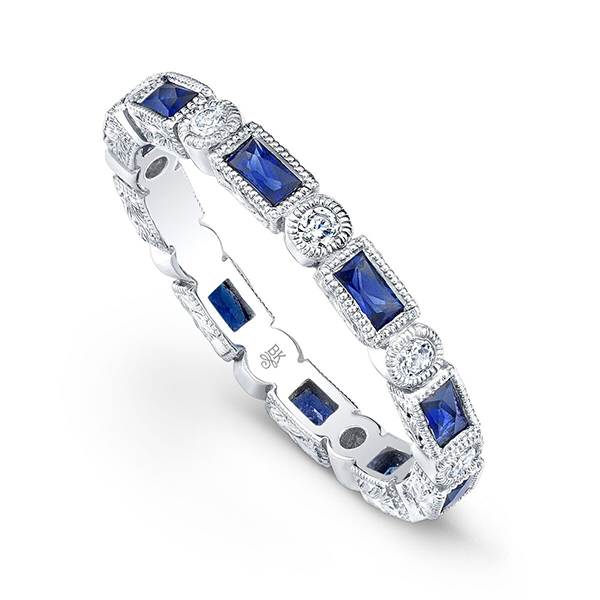 Beverley K Vintage Style Sapphire And Diamond Band by Beverley K