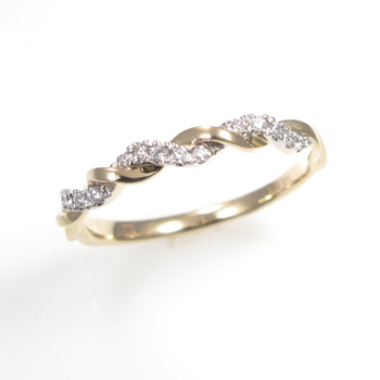 Romantic  Yellow Gold Diamond Stackable Ring by Leddel