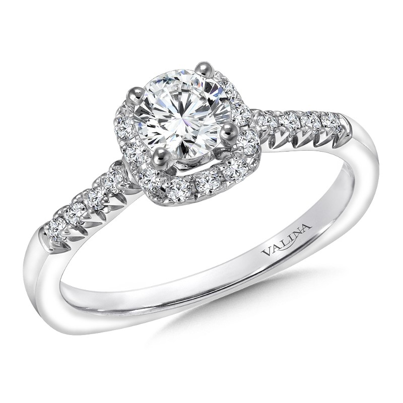 Diamond Engagement Ring In 14K White Gold by Valina
