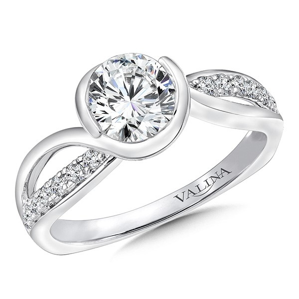 Bezel Set Engagement Ring With Sweeping Side Stones by Valina