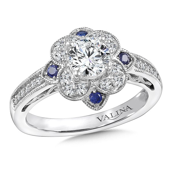 Diamond & Blue Sapphire Halo Engagement Ring Mounting in 14K White Gold by Valina