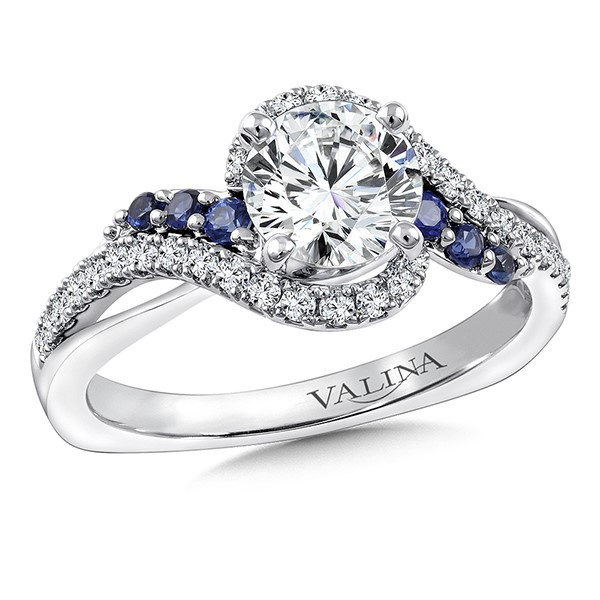 Diamond & Blue Sapphire Engagement Ring Mounting in 14K White Gold by Valina