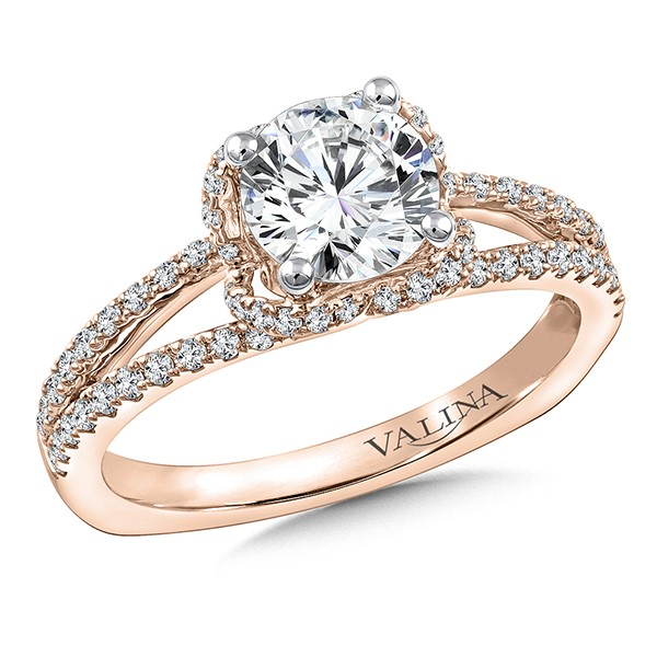Diamond Engagement Ring Mounting in 14K Rose Gold by Valina