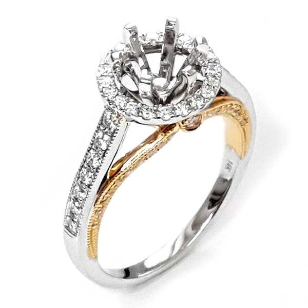 Diamond Engagement Ring In White And Yellow Gold by NJ Design