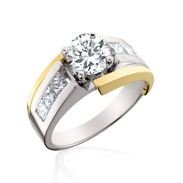 Channel Set White And Yellow Gold Diamond Ring - Made In MI by HL Manufacturing