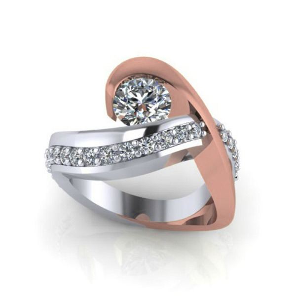 Channel Set Contemporary Diamond Ring by HL Manufacturing