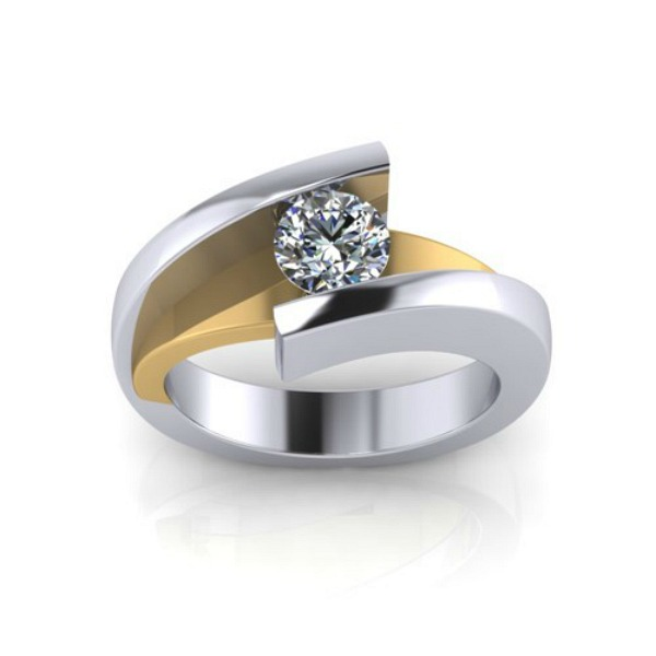 Contemporary Diamond Solitaire - Made in MI by HL Manufacturing