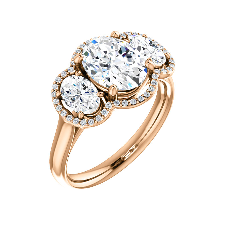 3-Stone Halo-Style Engagement Ring by Ever & Ever