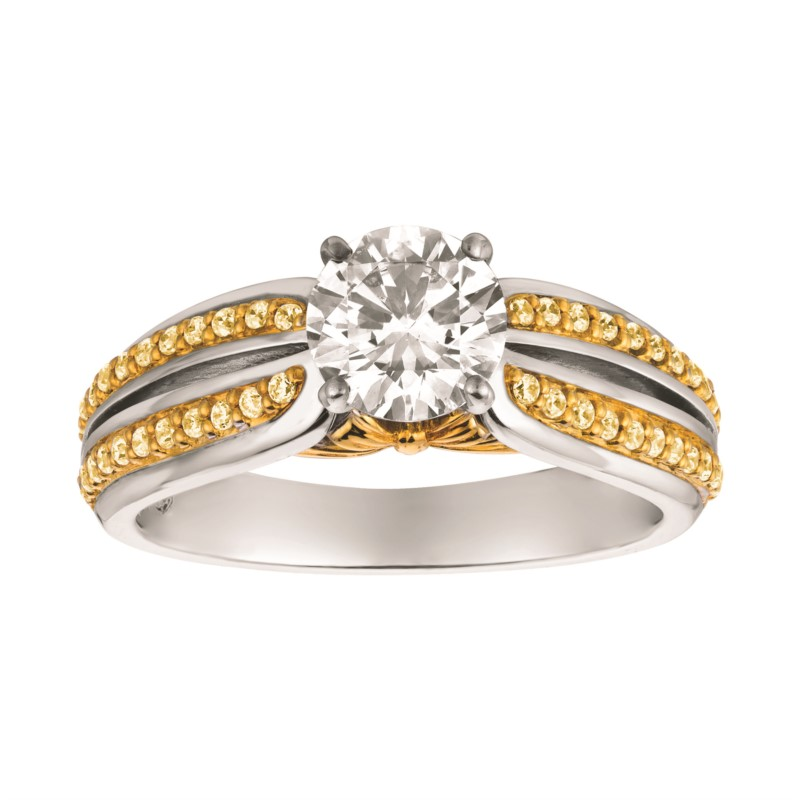 Yellow Diamond Split Shank Ring by Gems By Pancis