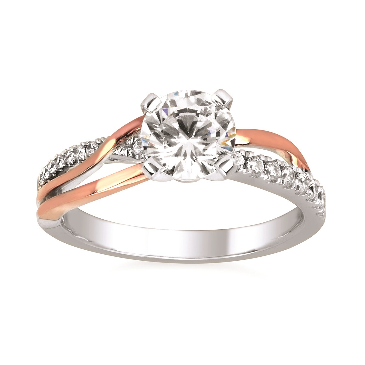 Classic White and Rose Gold Diamond Ring by Ostbye