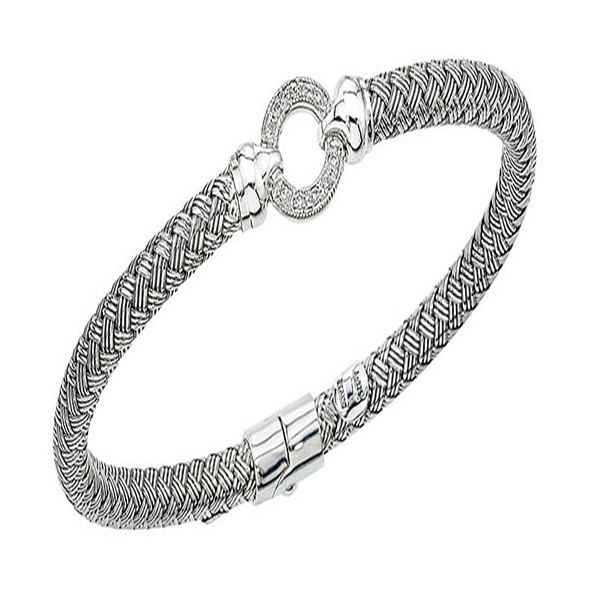 Basket Weave Bangle With Round Diamond Center by Alisa