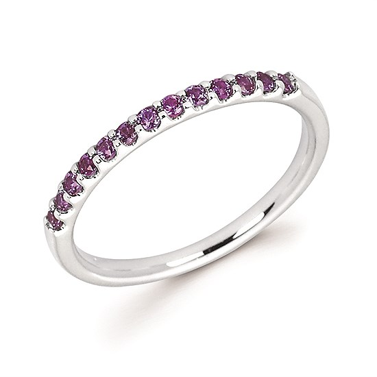 14 Karat White Gold Created Alexandrite Stackable ring by Ostbye