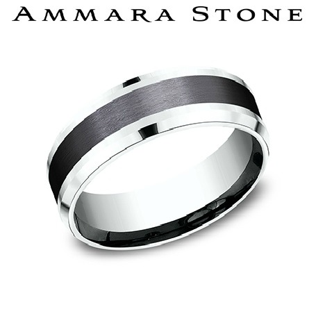 Ammara Stone - Black Titanium  And  White Gold Ring by Benchmark