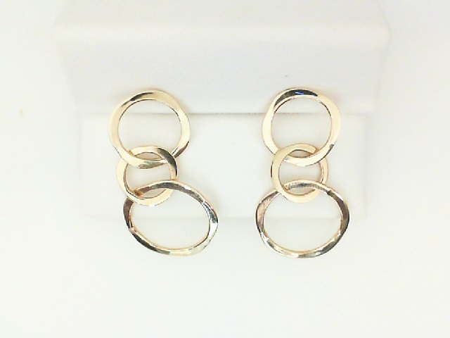 Yellow Gold Circle Drop Earrings by Tom Kruskal