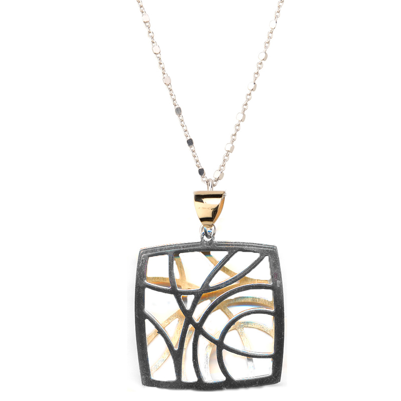 Sterling Silver and 18 Karat Yellow Gold Plated Contempo Necklace by Frederic Duclos by Frederic Duclos