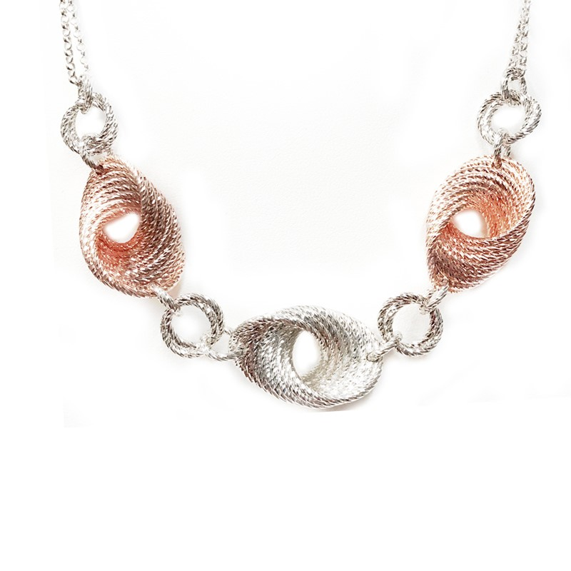 Sterling Silver and 18 Karat Rose Gold Plated Super Twist Necklace by Frederic Duclos
