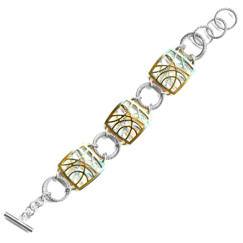 Sterling Silver and 18 Karat Yellow Gold Plated Contempo Bracelet by Frederic Duclos by Frederic Duclos