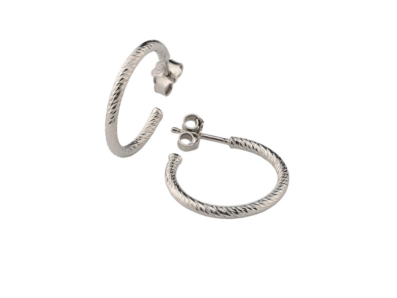 Trendy Diamond Sterling Silver Hoops by Frederic Duclos