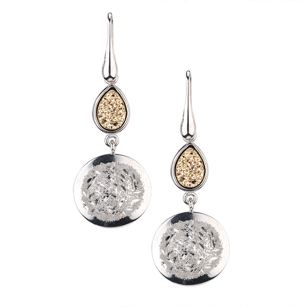 Sterling Silver Rhonda Earrings with Drusy Crystal  by Frederic Duclos by Frederic Duclos