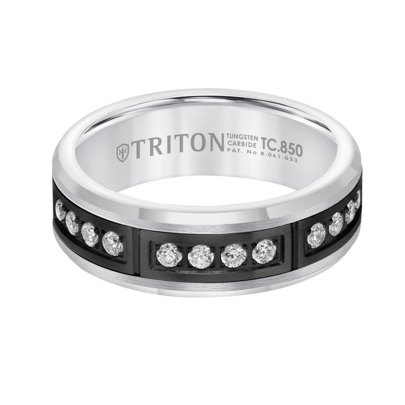 Tungsten Band With Channel Set Diamonds by Triton